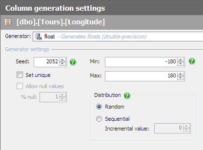Generating Data - Column Generation Settings